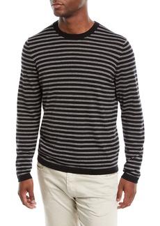 Neiman Marcus Men's Cashmere-Silk Striped Long-Sleeve T-Shirt