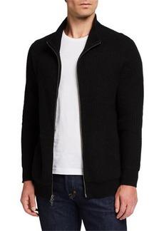 Neiman Marcus Men's Cashmere Thermal Zip-Front Jacket