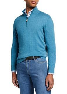 Neiman Marcus Men's Cashmere/Silk Quarter-Zip Sweater