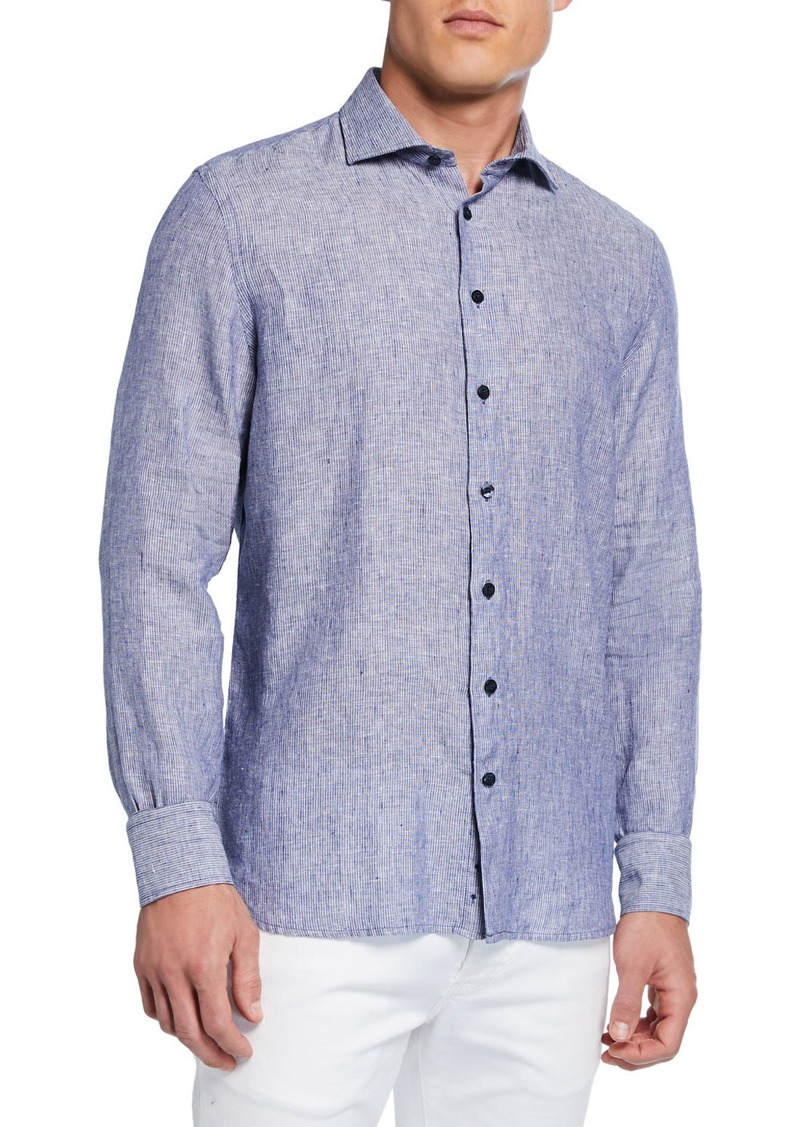 Neiman Marcus Men's Casual Stripe Shirt