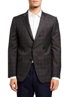 Neiman Marcus Men's Check Wool Sport Coat  Grey
