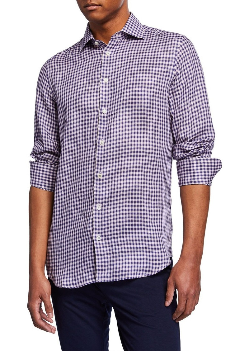 Neiman Marcus Men's Checked Linen Sport Shirt