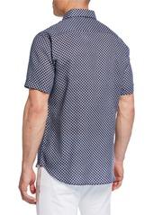 Neiman Marcus Men's Circle-Print Short-Sleeve Sport Shirt