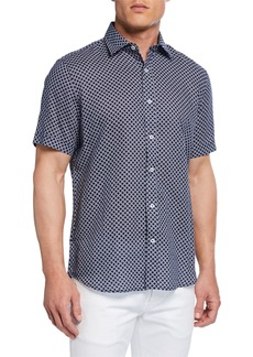 Neiman Marcus Men's Circle-Print Short-Sleeve Sport Shirt