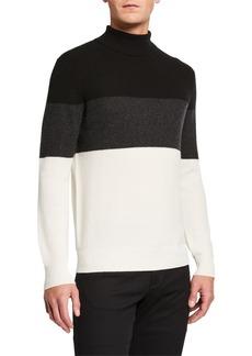Neiman Marcus Men's Colorblock Cashmere Turtleneck Sweater