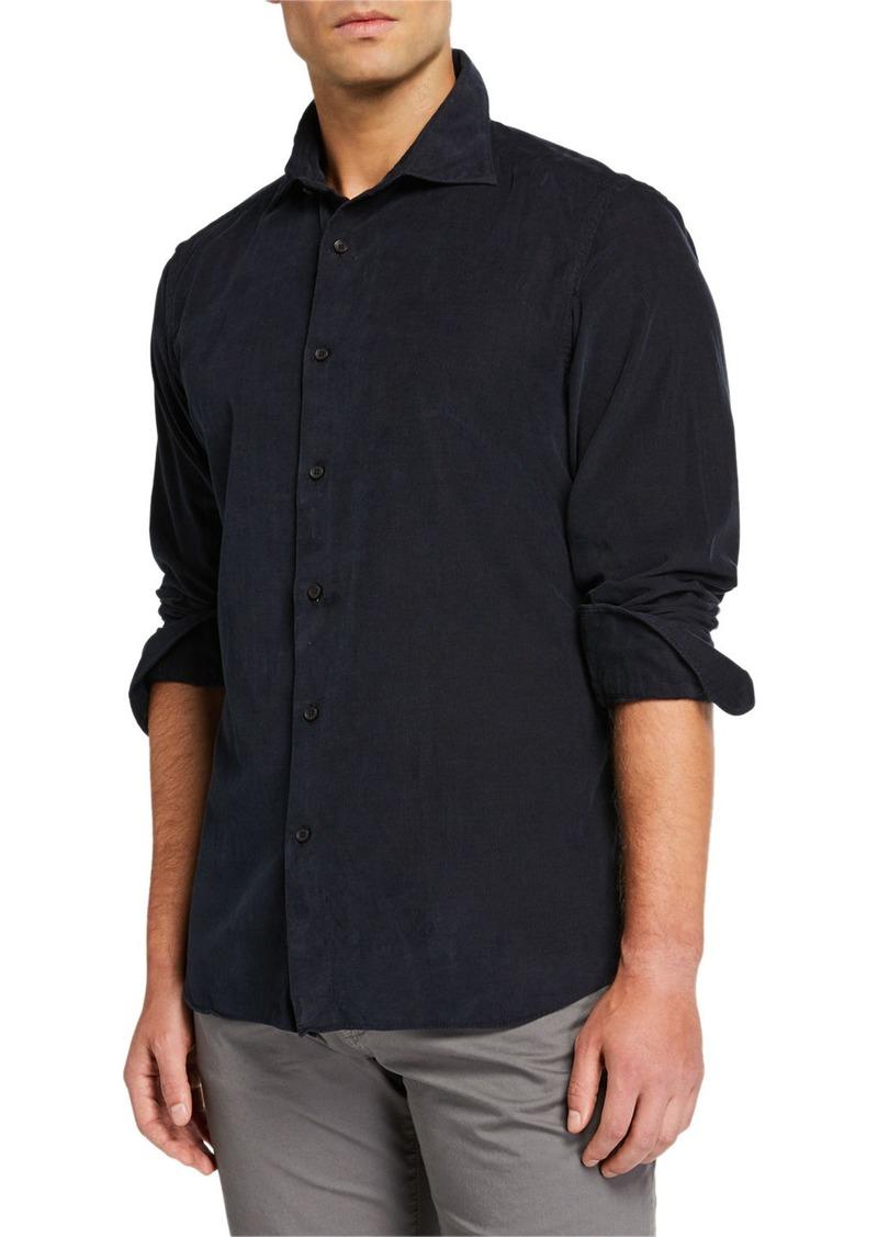 Neiman Marcus Men's Corduroy Sport Shirt  Dark Gray