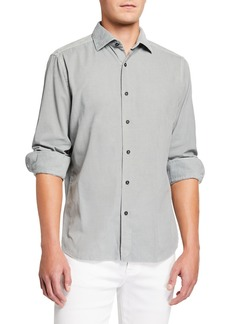 Neiman Marcus Men's Corduroy Sport Shirt  Light Gray