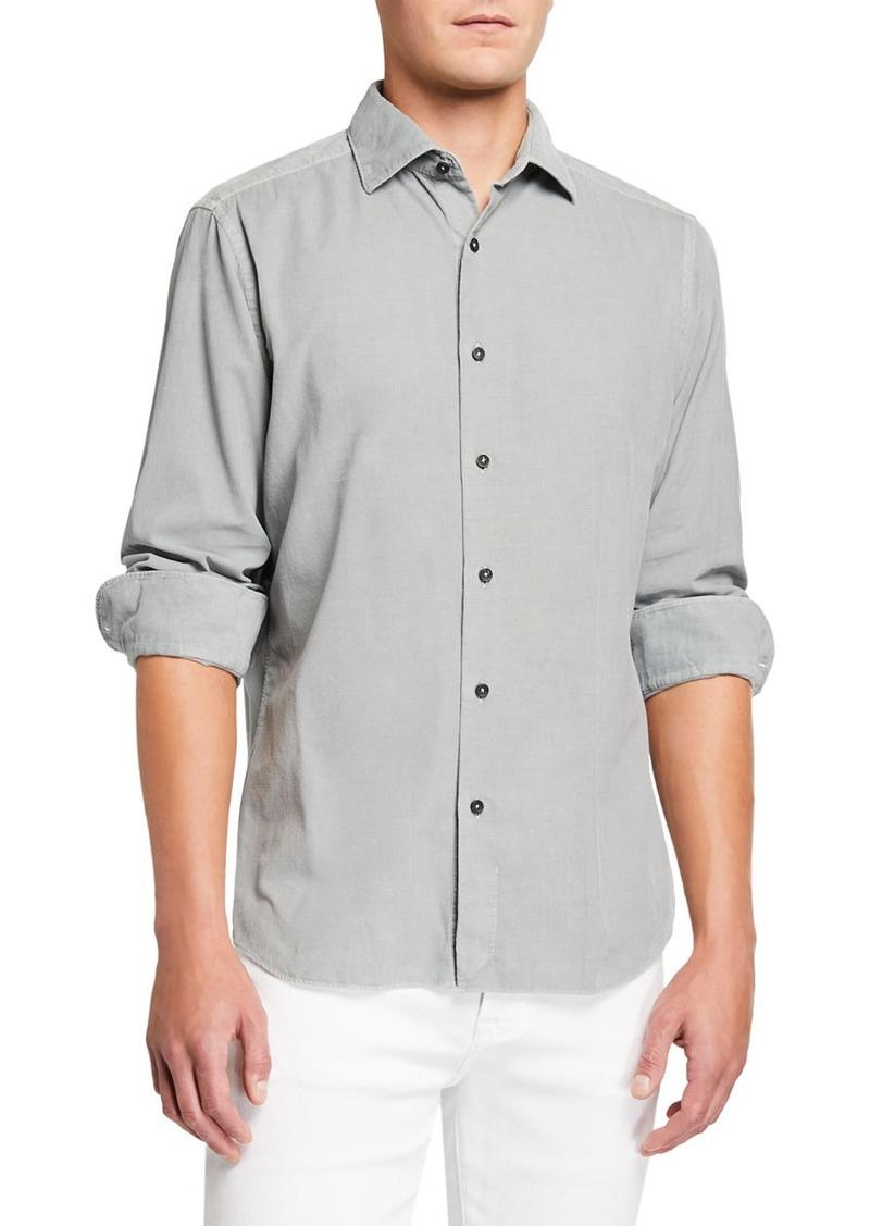 Neiman Marcus Men's Corduroy Sport Shirt  Light Gray