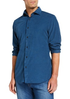 Neiman Marcus Men's Corduroy Sport Shirt  Medium Blue