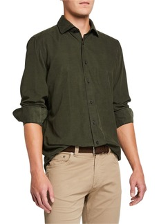 Neiman Marcus Men's Corduroy Sport Shirt  Olive