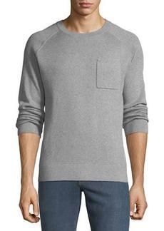 Neiman Marcus Men's Crewneck Raglan Pocket Organic Cotton Pullover Sweater