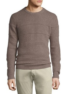 Neiman Marcus Men's Crewneck Textured Paneled Pullover Cashmere Sweater