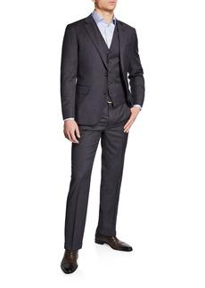 Neiman Marcus Men's Cross Dye Solid Vested Three-Piece Suit