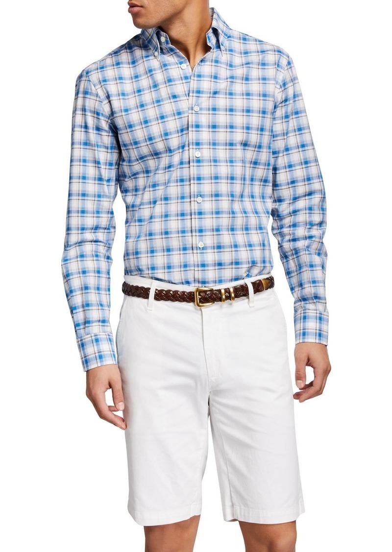 Neiman Marcus Men's Fiammato Tartan Check Sport Shirt