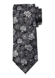 Neiman Marcus Men's Flower Print Silk Tie
