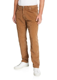 Neiman Marcus Men's Garment-Dyed Moleskin Pants, Brown