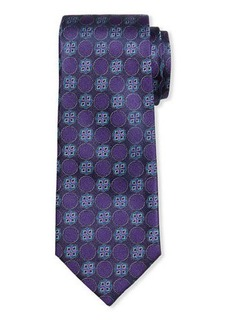 Neiman Marcus Men's Gibbs Medallion-Print Silk Tie