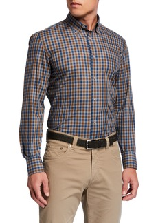 Neiman Marcus Men's Gingham Check Cotton Sport Shirt