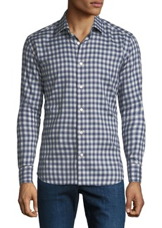 Neiman Marcus Men's Gingham Cotton Sport Shirt