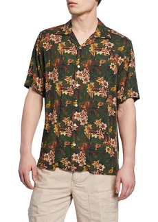 Neiman Marcus Men's Green Floral Short-Sleeve Sport Shirt