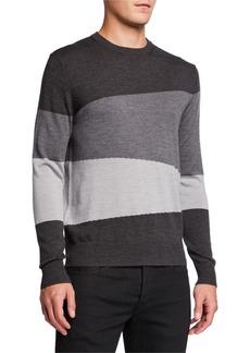 Neiman Marcus Men's Landscape Colorblock Intarsia-Knit Sweater