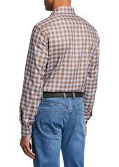 Neiman Marcus Men's Large-Check Sport Shirt  Brown