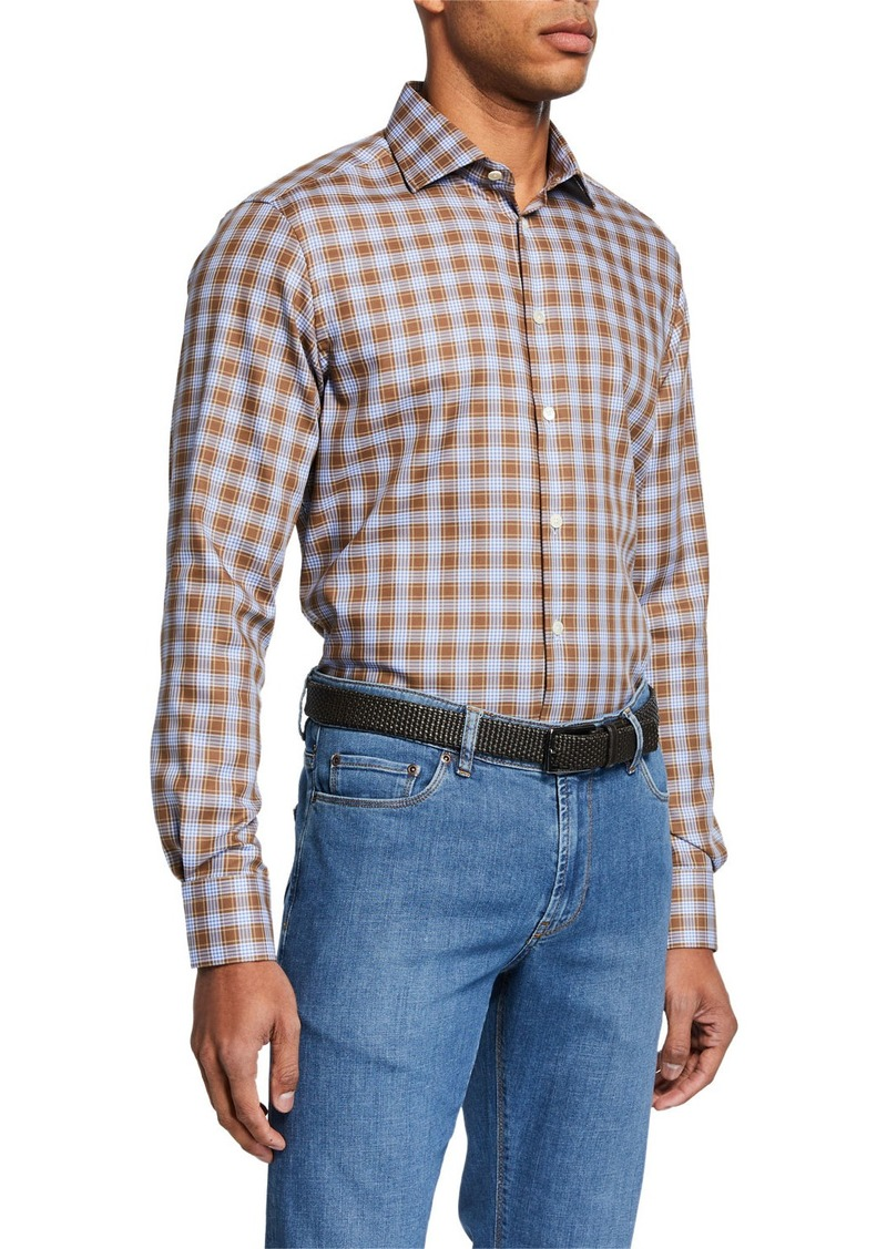 Neiman Marcus Men's Large-Check Sport Shirt  Brown