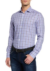 Neiman Marcus Men's Large-Check Sport Shirt  Light Blue