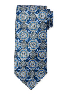 Neiman Marcus Men's Large Medallion Print Silk Tie