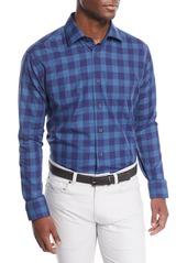 Neiman Marcus Men's Large Washed Plaid Sport Shirt