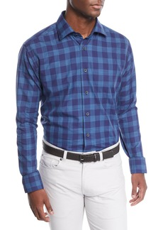 Neiman Marcus Men's Large Washed Plaid Sport Shirt