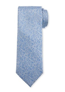 Neiman Marcus Men's Leaf-Print Silk Tie