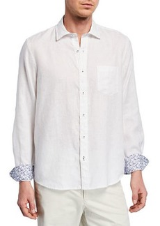Neiman Marcus Men's Leisure-Fit Linen Sport Shirt