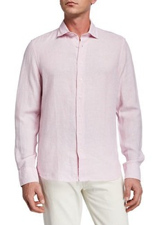 Neiman Marcus Men's Linen-Blend Mitered Cuff Sport Shirt