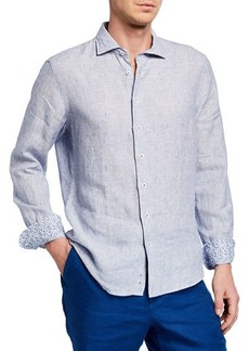 Neiman Marcus Men's Linen End-on-End Sport Shirt