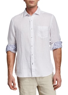 Neiman Marcus Men's Linen Long-Sleeve Shirt