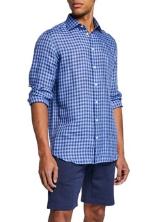 Neiman Marcus Men's Linen Medium Check Sport Shirt
