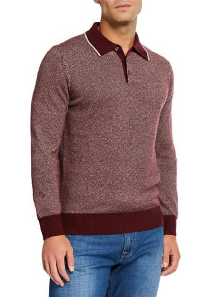 Neiman Marcus Men's Long-Sleeve Birdseye Cashmere Polo Shirt