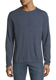 Neiman Marcus Men's Long-Sleeve Crewneck Wool-Linen Slub T-Shirt
