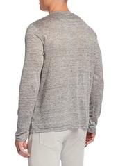 Neiman Marcus Men's Long-Sleeve Linen Henley Shirt