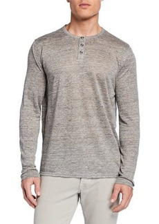 Neiman Marcus Men's Long-Sleeve Linen Henley Shirt