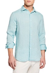 Neiman Marcus Men's Long-Sleeve Linen Sport Shirt