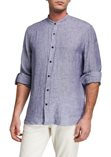 Neiman Marcus Men's Mandarin Collar Striped Linen Shirt