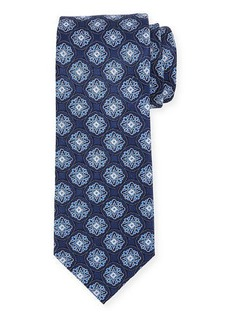 Neiman Marcus Men's Medallion Print Silk Tie