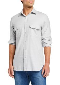 Neiman Marcus Men's Melange Flannel Sport Shirt