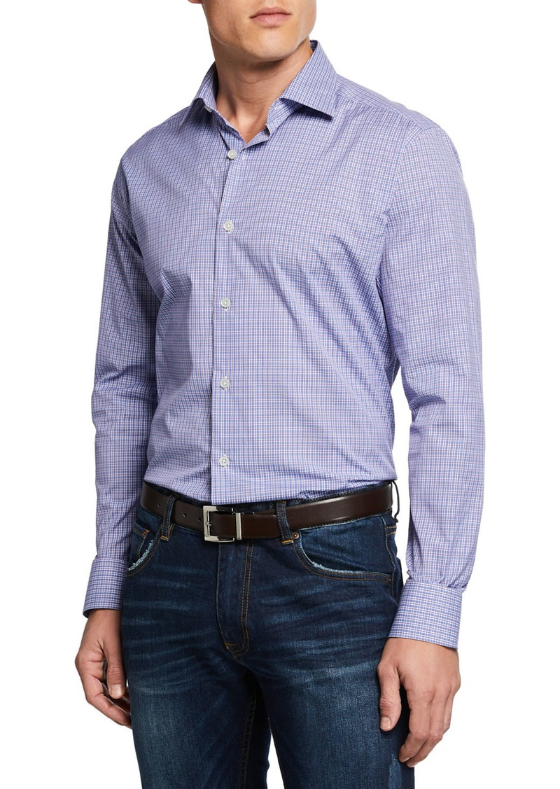 Neiman Marcus Men's Mini-Plaid Sport Shirt