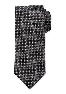Neiman Marcus Men's Neat Dots/Squares Print Silk Tie