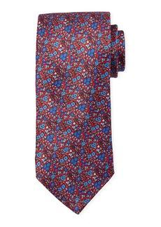 Neiman Marcus Men's Neat Floral Print Silk Tie