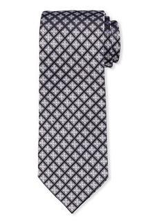 Neiman Marcus Men's Neat Floral-Print Silk Tie