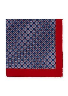 Neiman Marcus Men's Neat Medallion-Print Silk Pocket Square